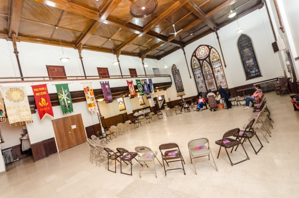 The space of United Church  of Hyde Park awaits those coming to the dialog